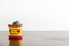 在一个心形的花瓶的仙人掌 免版税库存图片