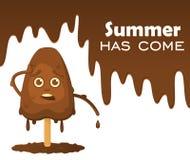 在一个忠心于的熔化的巧克力冰淇凌情感 与下落的熔化的巧克力,文本在对象`夏天有来临` 向量例证