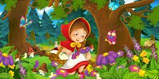 在一个愉快的女孩的动画片场面在五颜六色的森林里面 免版税库存图片