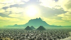 在一个意想不到的行星的金字塔 库存例证