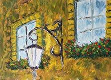 在一个房子的唯一灯笼在窗口附近 免版税库存照片