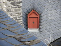 在一个房子的屋顶的顶楼窗口鸽子的 免版税图库摄影