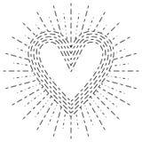 在一个抽象放热旭日形首饰的心脏形状 图库摄影