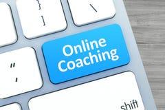 在一个按钮的网上教练的文本在现代键盘  库存图片