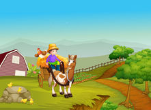 在一个支架的男孩骑马有一匹马和一只鸡的在bac 免版税图库摄影