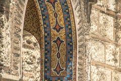 在一个教会入口的马赛克在雅典 图库摄影
