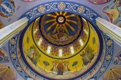 在一个教会的圆顶的壁画在Lvov 免版税库存图片