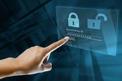 在一个数字式屏幕上的密码 图库摄影