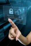 在一个数字式屏幕上的密码 库存图片