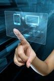 在一个数字式屏幕上的调动数据 免版税库存照片