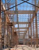 在一个新的佛教教会的建造场所的脚手架 库存图片