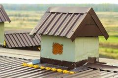 在一个新的建造的房子的屋顶的烟囱 免版税库存图片