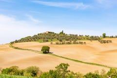 在一个新的被播种的领域的农场马路在意大利 库存照片