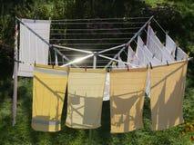 在一个旋转干燥器的洗衣店 库存图片