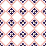 在一个无缝的样式的蓝色和桃红色瓦片设计 向量例证