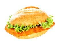 在一个有壳的小圆面包的可口鱼汉堡 库存照片