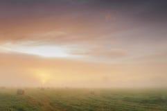 在一个有薄雾的草甸的日出有秸杆块的 免版税图库摄影