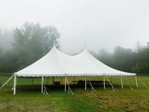 在一个有薄雾的领域的商业事件帐篷 免版税图库摄影
