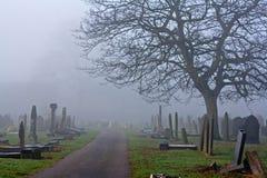 在一个有雾的冬日的鬼的老墓地 免版税图库摄影