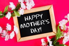 在一个木制框架的黑板与在桃红色背景的白花围拢的一个空的箱子 日愉快的母亲s 免版税图库摄影