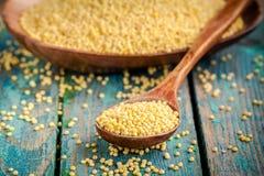 在一个木匙子特写镜头的有机小米种子 库存图片