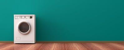 在一个木地板上的洗衣机 3d例证 免版税库存图片