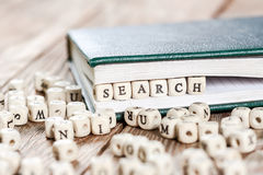 在一个木块写的搜索词语 图库摄影