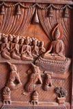 在一个木寺庙雕刻的菩萨图象 库存图片