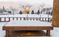 在一个木平台的野餐桌在一个积雪的公园 免版税库存图片