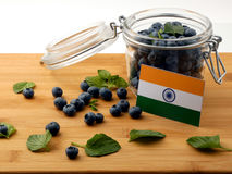 在一个木板条的印地安旗子用在白色的蓝莓 库存照片