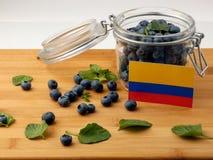在一个木板条的哥伦比亚的旗子用在wh的蓝莓 库存照片