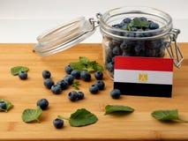 在一个木板条的埃及旗子用在whi的蓝莓 库存图片