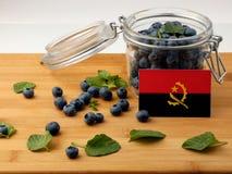 在一个木板条的安哥拉旗子用在丝毫的蓝莓 库存图片