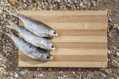 在一个木板的三条干燥干鱼 库存照片