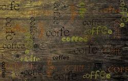 在一个木板的咖啡,木纹理背景 免版税图库摄影