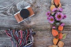 在一个木板的时髦的照相机有秋天颜色的 图库摄影