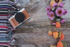 在一个木板的时髦的照相机有秋天颜色的 库存图片