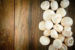 在一个木板的蘑菇 库存图片