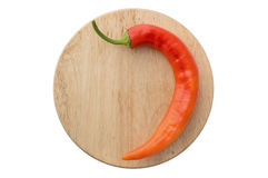 在一个木板的辣椒 库存图片