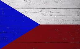 在一个木板绘的捷克旗子 库存照片