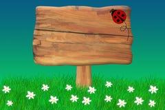 在一个木标志的瓢虫Crawing 库存图片