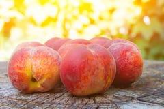 在一个木树桩的桃子谎言 免版税库存图片