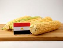 在一个木盘区的埃及旗子用在白色ba隔绝的玉米 库存图片