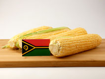 在一个木盘区的瓦努阿图旗子用在白色bac隔绝的玉米 免版税图库摄影