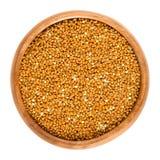 在一个木碗的全麦的棕色小米 库存照片