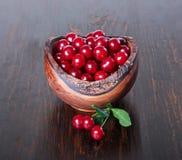 在一个木碗的樱桃 库存照片
