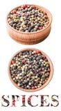 在一个木碗的被分类的胡椒 免版税库存照片