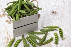 在一个木箱的绿豆 库存图片