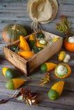 在一个木箱的装饰南瓜 免版税库存照片