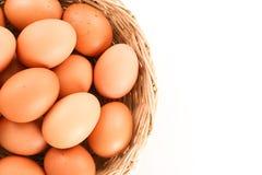 在一个木篮子的新鲜的鸡蛋在白色背景关闭 免版税库存照片